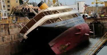 One of the biggest yachts in the world capsized in Genoa