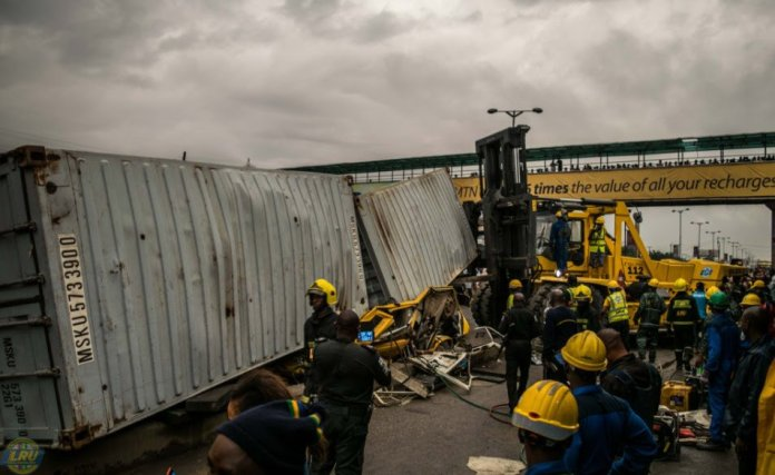 LAGOS: 20-ft container falls on bus, kills 2, injures 3