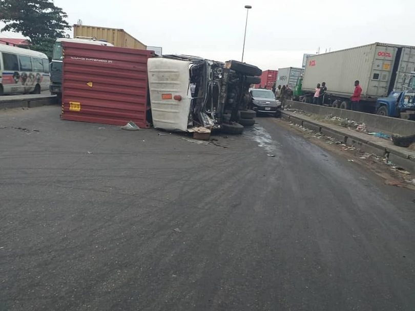 GRIDLOCK: Fallen tanker, Container induced accident paralyze Mile 2