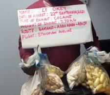 NDLEA arrests trafficker with N2.3bn cocaine at Abuja airport