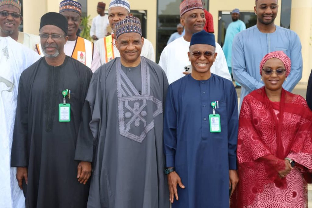 NIMASA: El Rufai Calls Jamoh an Asset, after receiving mouth watering palliative  L-R: Secretary to the State Government, Kaduna State, Balarabe Abbas; Director General, Nigerian Maritime Administration and Safety Agency (NIMASA), Dr. Bashir Jamoh; Executive Governor Kaduna State, Mallam Nasir el-Rufai and the Attorney General and Commissioner of Justice, Kaduna State, Lady Aisha Dikko during the presentation of relief and empowerment materials by the Director General NIMASA to the Kaduna State Government today.
